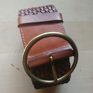 Eddie Bauer Brown braided leather belt M